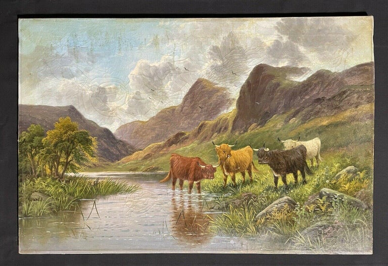 ANTIQUE SCOTTISH SIGNED OIL - CATTLE WATERING IN MOUNTAINOUS SUMMERS RIVER GLEN - Painting by E. Heaton