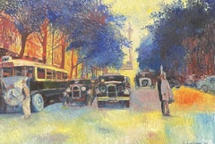 Huge Signed French Impressionist Oil - Busy Parisian Street Vintage Scene