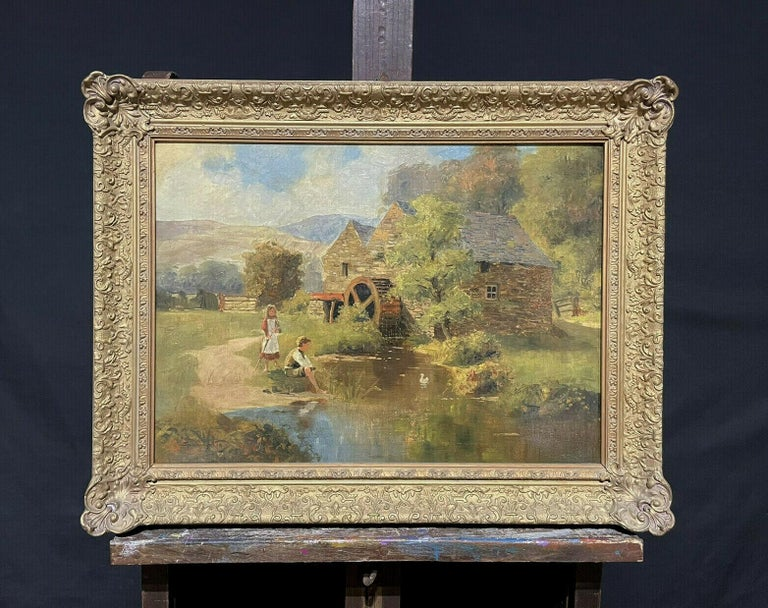 SIGNED VICTORIAN ENGLISH OIL PAINTING - CHILDREN PLAYING WATERMILL STREAM DUCKS - Painting by S. Warburton