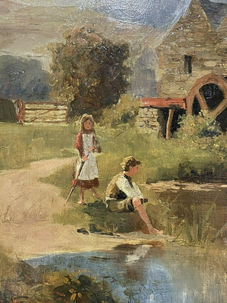 SIGNED VICTORIAN ENGLISH OIL PAINTING - CHILDREN PLAYING WATERMILL STREAM DUCKS - Victorian Painting by S. Warburton