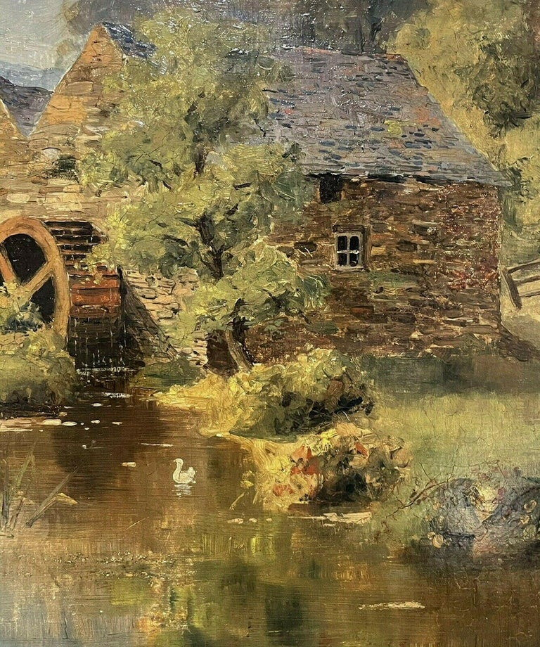 SIGNED VICTORIAN ENGLISH OIL PAINTING - CHILDREN PLAYING WATERMILL STREAM DUCKS - Brown Figurative Painting by S. Warburton