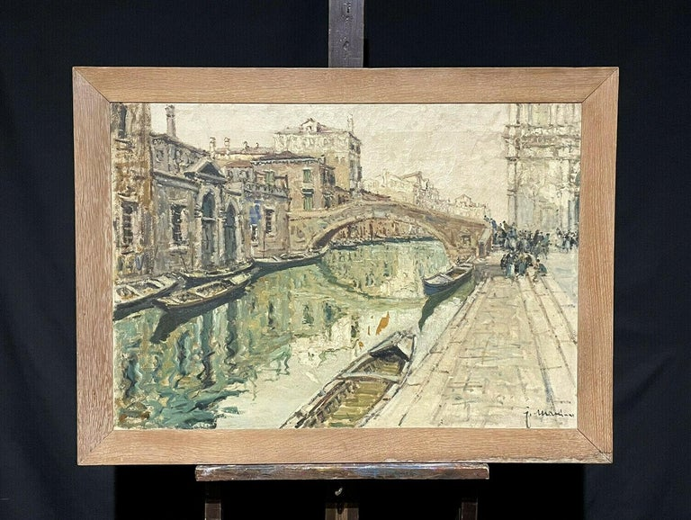 VERY LARGE 1960'S ITALIAN SIGNED OIL - MODDY IMPRESSIONIST VENICE CANAL SCENE - Painting by Italian Signed