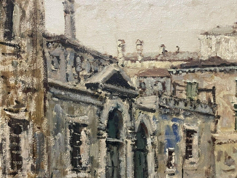 VERY LARGE 1960'S ITALIAN SIGNED OIL - MODDY IMPRESSIONIST VENICE CANAL SCENE - Impressionist Painting by Italian Signed