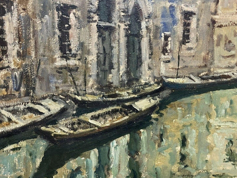 VERY LARGE 1960'S ITALIAN SIGNED OIL - MODDY IMPRESSIONIST VENICE CANAL SCENE - Beige Landscape Painting by Italian Signed
