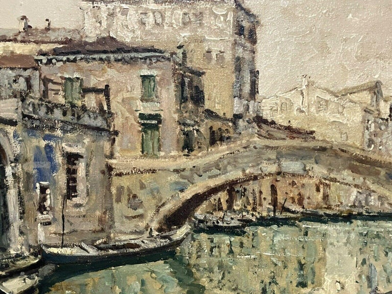 Artist/ School: Italian School, mid 20th century - 1960's period. Signed lower corner indistinctly.  Title: Venice.  Medium:   oil painting, on canvas.   Size:    frame: 32.5 x 44 inches          painting: 27 x 39 inches                Provenance: