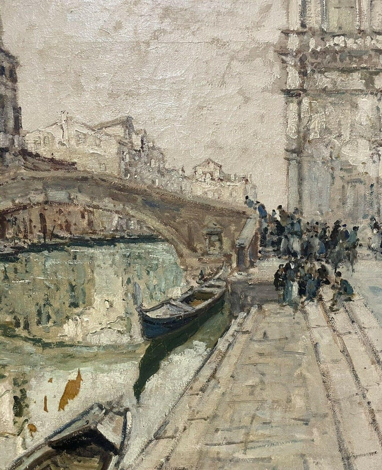 VERY LARGE 1960'S ITALIAN SIGNED OIL - MODDY IMPRESSIONIST VENICE CANAL SCENE For Sale 1