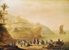 1700's ITALIAN/ AUSTRIAN OIL ON PANEL - CAPRICCIO RUINS UNLOADING BOATS