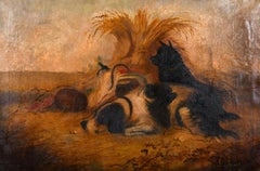 J. LANGLOIS (1855-1904) SIGNED LARGE FRAMED OIL - DOGS RESTING BY PICNIC HAMPER