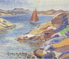 1940's FRENCH SIGNED POST-IMPRESSIONIST/ FAUVIST OIL - BOATS OFF ROCKY COASTLINE