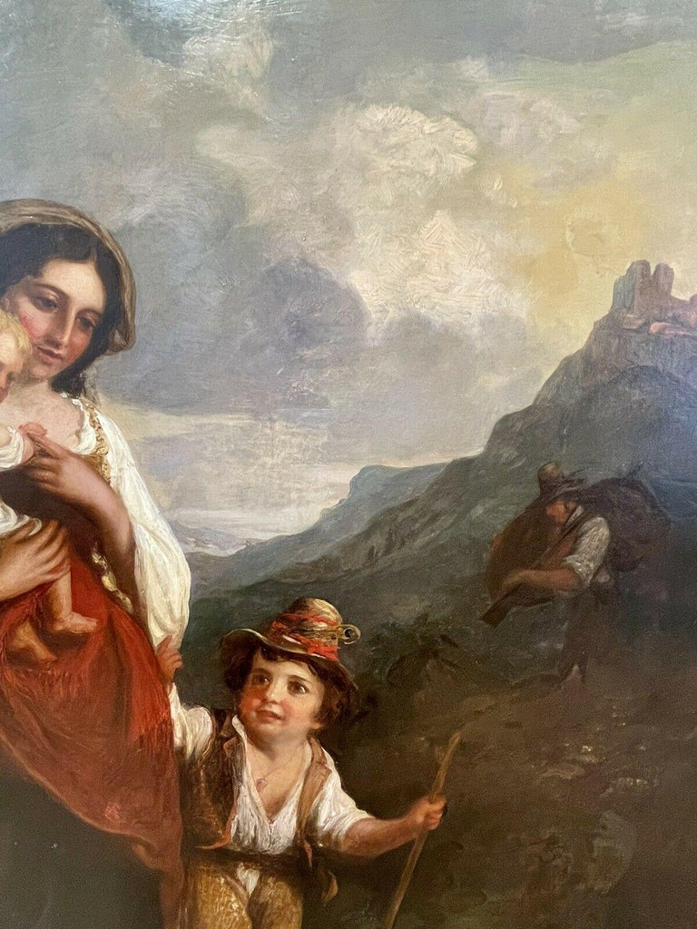 Huge 19th Century Italian Oil Painting Young Family on Mountain Pathway Sunset For Sale 2
