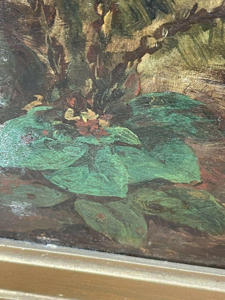 Huge 19th Century Italian Oil Painting Young Family on Mountain Pathway Sunset For Sale 5