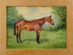 1900's BRITISH SPORTING ART - SIGNED OIL - PORTRAIT OF HORSE IN LANDSCAPE