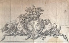 Fine Old Master Drawing - Heraldic Crest Coronet & Shield
