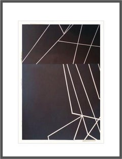 Paper Wings no. 3v - Framed Acrylic on Textured Paper - Abstract Geometric