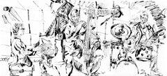 Joey Alexander Trio - Ink on Paper - Original Contemporary Sketch