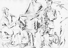 Chris Potter, Kevin Hays at Kitano - Ink on Paper - Original Sketch
