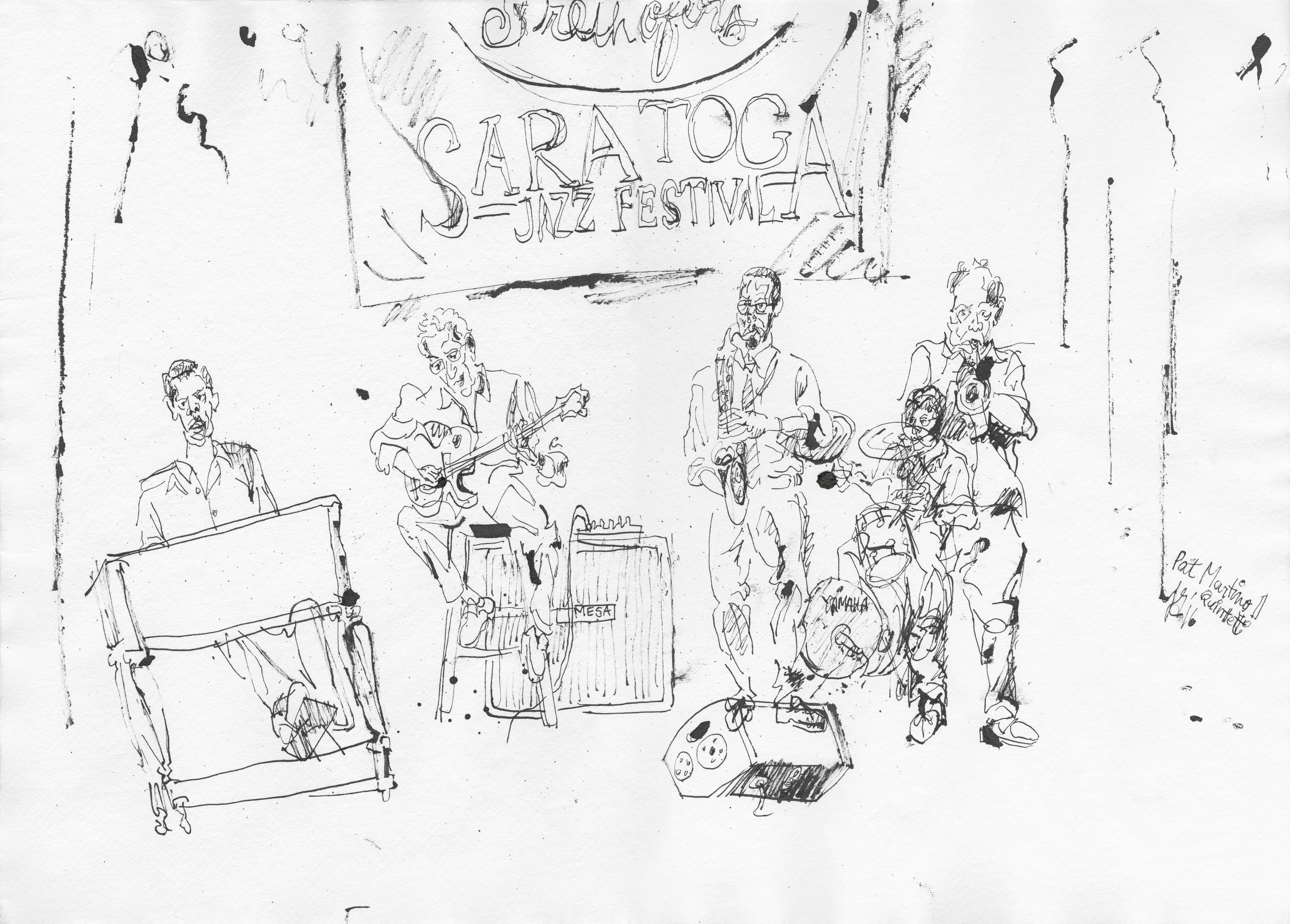 Pat Martino Quintet - Ink on Paper - Original Contemporary Sketch