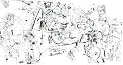 Harold Lopez Nussa Trio - Ink on Paper - Original Contemporary Sketch
