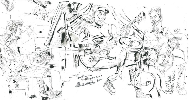 Jonathan Glass Figurative Art - Harold Lopez Nussa Trio - Ink on Paper - Original Contemporary Sketch