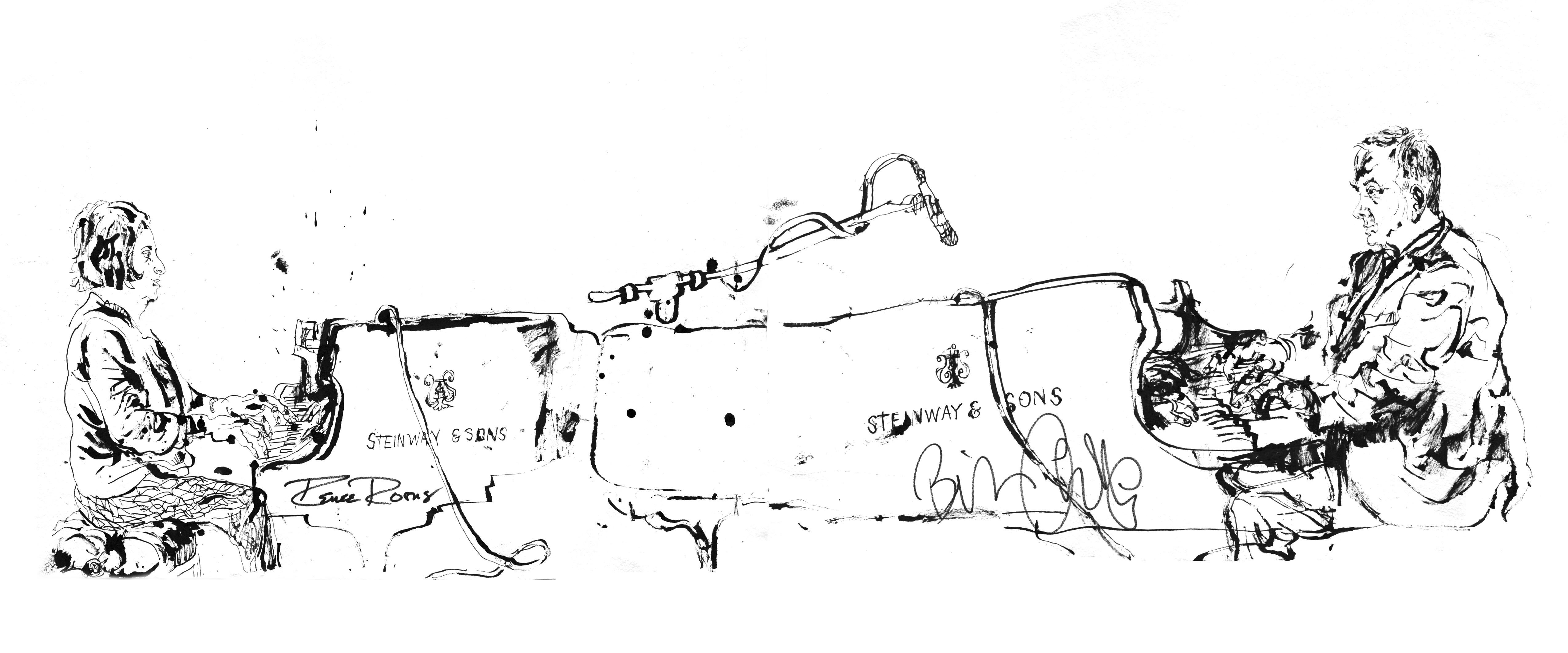 Renee Rosnes and Bill Charlap - Ink on Paper - Original Contemporary Sketch