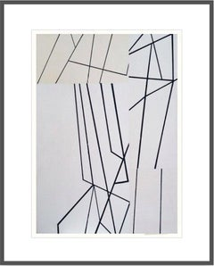 Paper Wings white no. 1 - Framed Acrylic on Textured Paper - Abstract Geometric