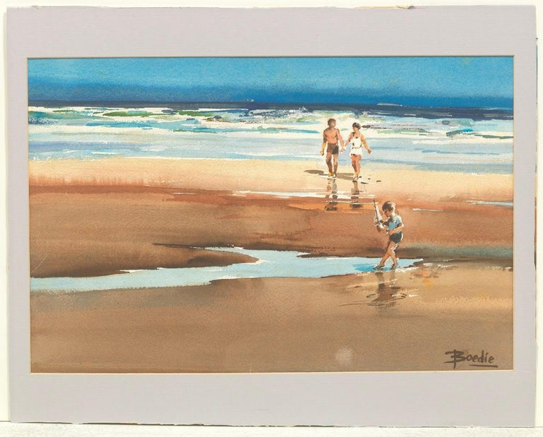 FAMILY AT THE BEACH - Art by Arnold Broedeker