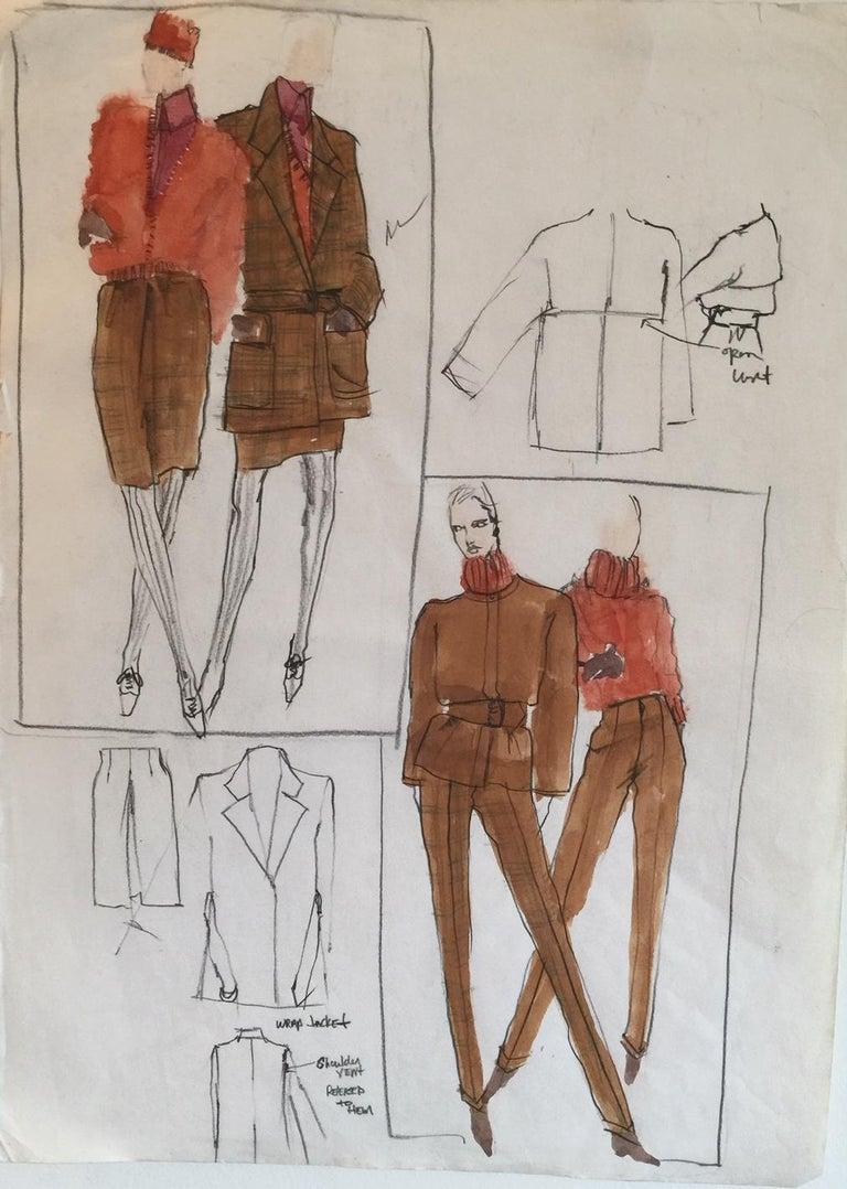Gordon Henderson Figurative Art - Rare Original Fashion Sketch With Production Notes