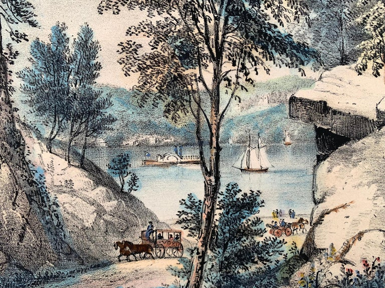 The Mountain Spring.  Near Cozzen's Dock, West Point. - Beige Print by Frances Flora Bond Palmer