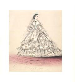 Elaborate Victorian White Crinoline Bridal Gown