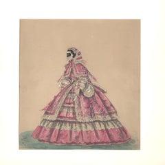 Elaborate Victorian Mauve Crinoline Bridal Gown