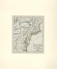 1749 French Map of New England, New York, New Jersey, Pennsylvania and Virginia