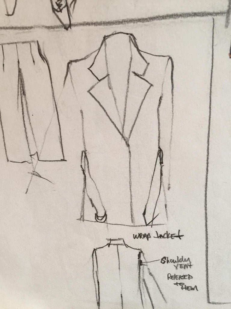 Rare Original Fashion Sketch With Production Notes - Art by Gordon Henderson
