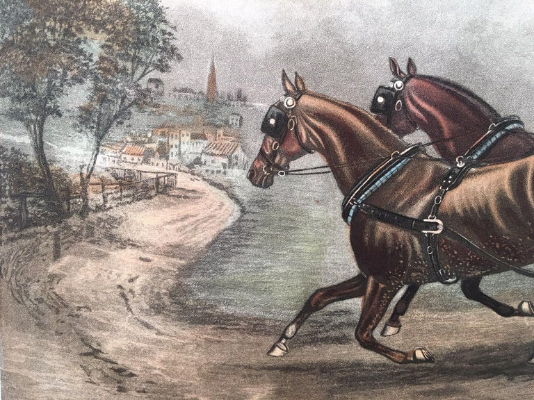 Richly aquatinted restrike copper-plate engraving of an original engraving published in 1881 in London by G.R. Stock after the painting by T.N.H. Walsh and the drawing by T. J. Walker Esq. The Plymouth London Royal Mail coach is speeding to its