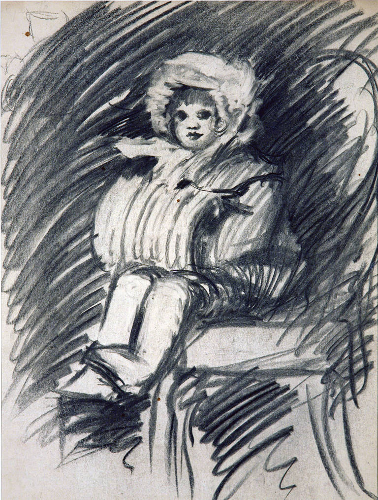 Young Girl with Muff and Winter Hat