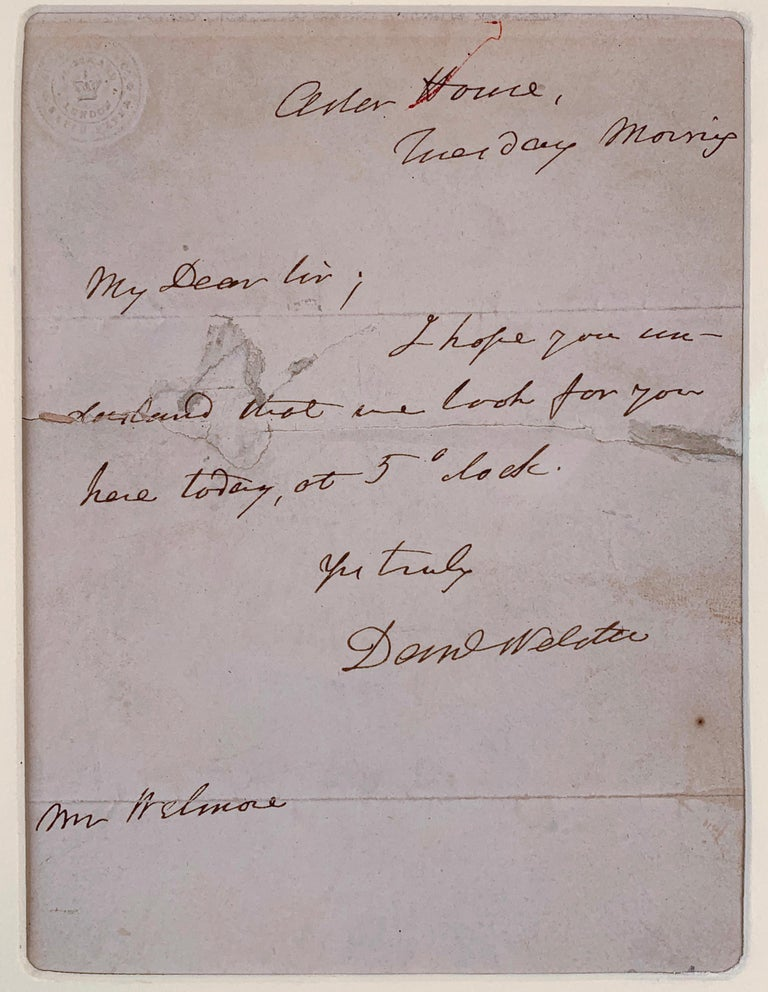 Engraving of Danial Webster and Signed Letter For Sale 2