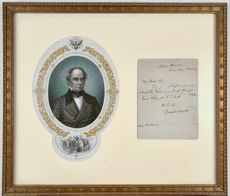 Engraving of Danial Webster and Signed Letter - Art by (after) Matthew Brady
