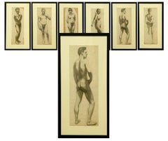 Six Framed (32 x 17 in) Charcoal Figure Drawings