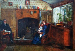 By the Fireside - Victorian, genre, oil painting by EF Holt