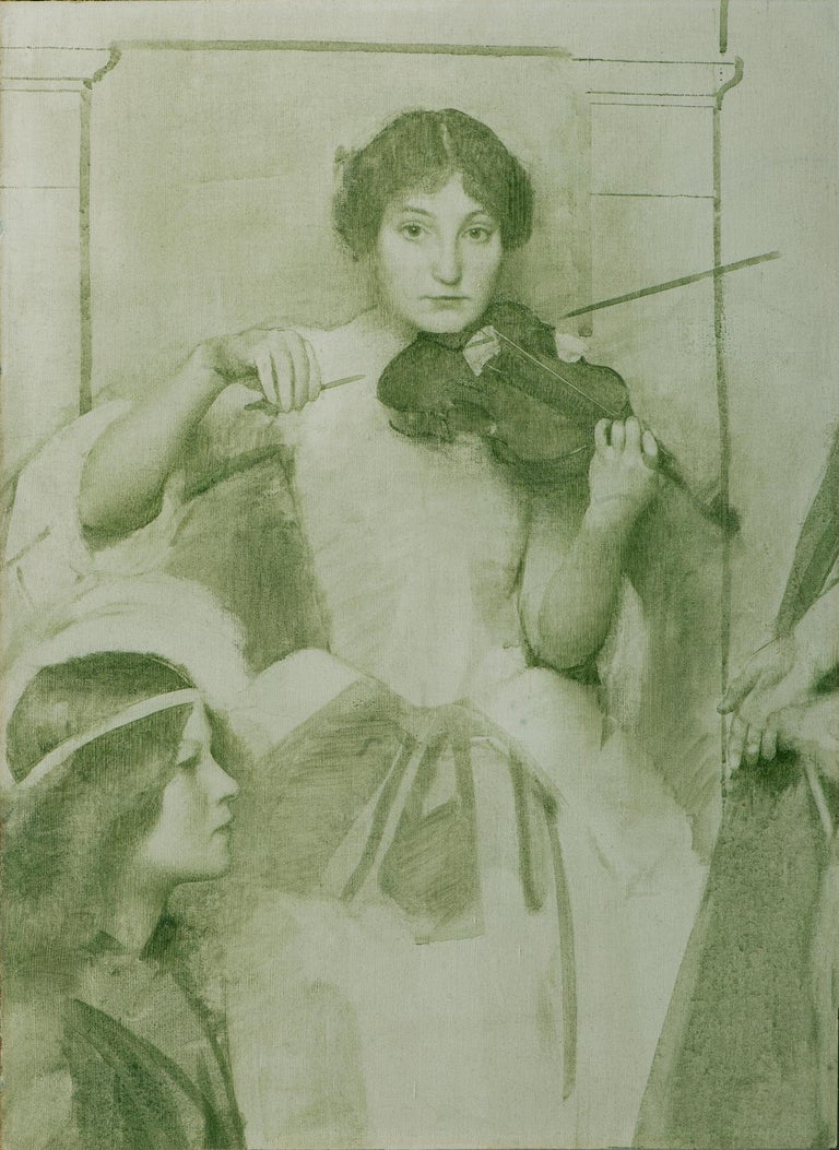 Thomas Cooper Gotch Figurative Painting - Study of the Violinist for Holy Motherhood