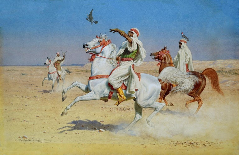 John Alexander Harington Bird Figurative Art - In Flight - Orientalist Watercolour