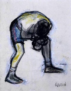 The Catcher  -  20th Century Wax Crayon Portrait