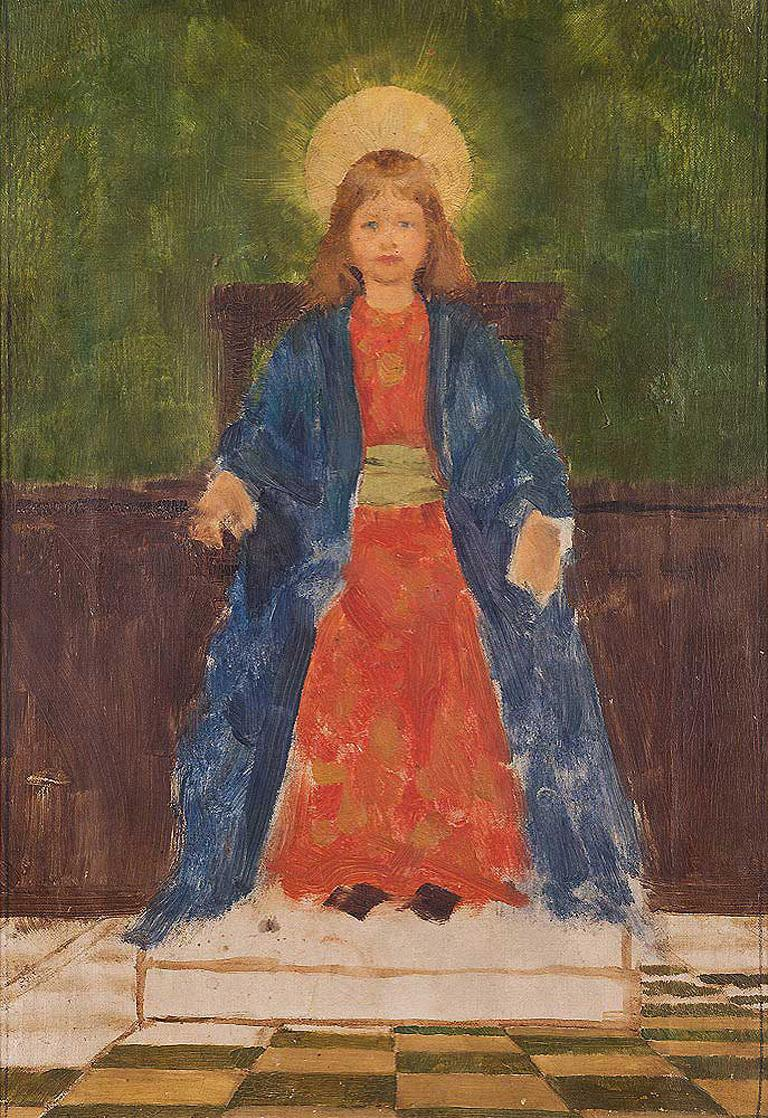 Thomas Cooper Gotch Figurative Painting - Study for The Child Enthroned