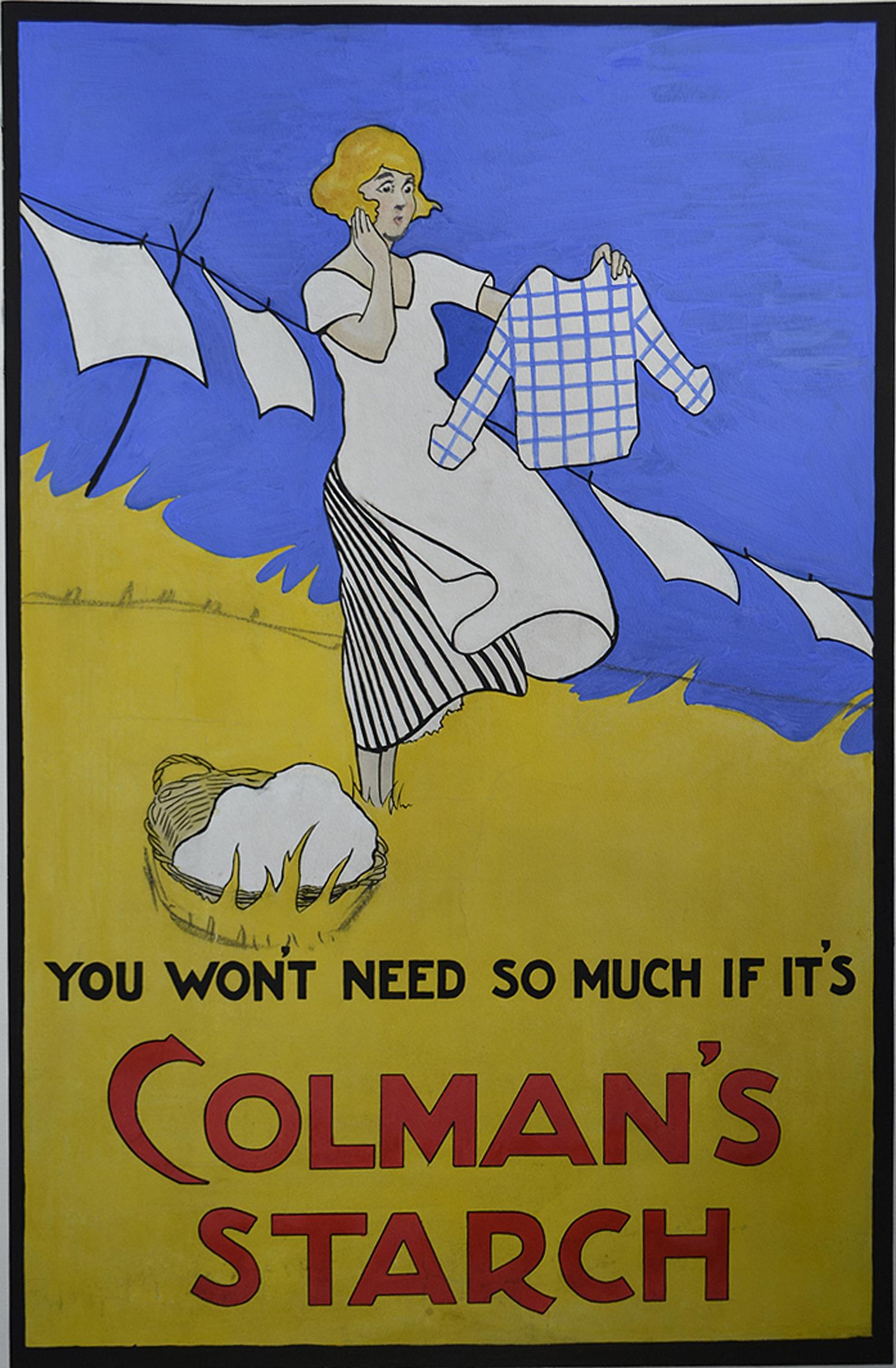 Colman's Starch, Art Deco Early 20th Century Gouache Poster Advertisement