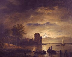 Evening Catch, 18th Century Old Masters Oil Painting