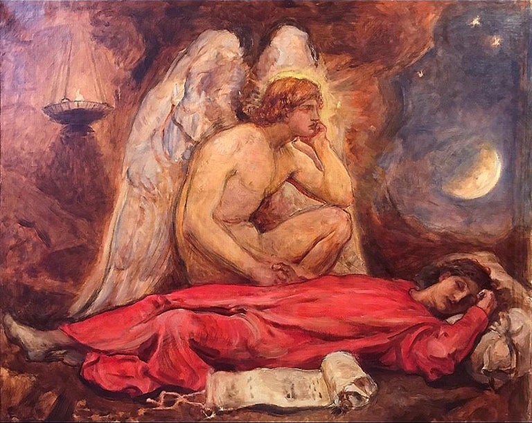Sir William Blake Richmond Figurative Painting - The Guardian Angel