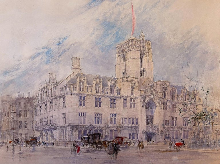 William Walcot, R.E., Hon.R.I.B.A. Landscape Art - The Supreme Court, London, Early 20th Century Graphite