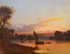 View from Richmond Bridge, 19th Century Oil Dawn Landscape