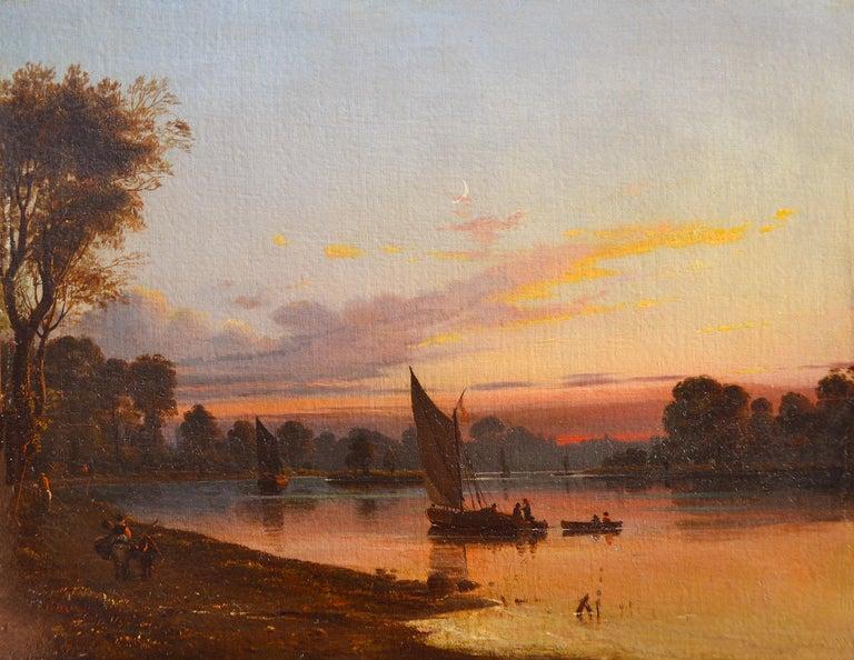 James Francis Danby Landscape Painting - View from Richmond Bridge, 19th Century Oil Dawn Landscape