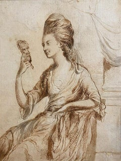 Portrait of Lady, 18th Century English Pen and Ink