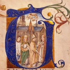 Consecration of a Church 15th Century English School Illuminated Manuscript
